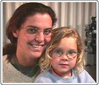 Mom and patient both with hypermetropic anisometropic amblyopia.
